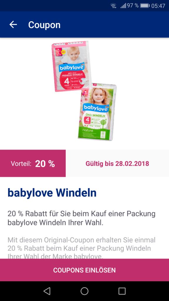 20%-Coupon für babylove-Windeln von dm (Screenshot aus Glückskind-App)
